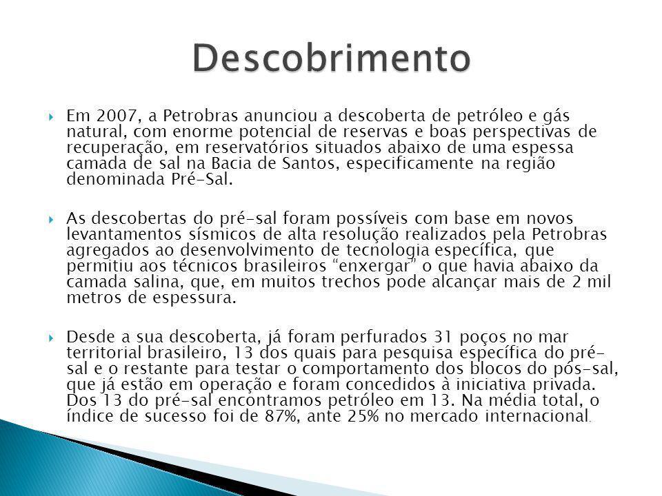  Em 2007, a Petrobras anunciou a descoberta de petróleo e gás natural, com enorme potencial de reservas e boas perspectivas de recuperação, em reserv