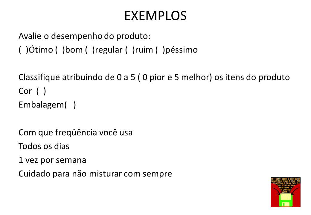 EXEMPLOS DOS AMACIANTES EXPERIMENTADOS DIGA A CLASSIFICAÇÃO: Quanto a perfume: 1o.____ 2o.____ 3o.____ Qual amacia melhor 1o.____ 2o.____ 3o.____