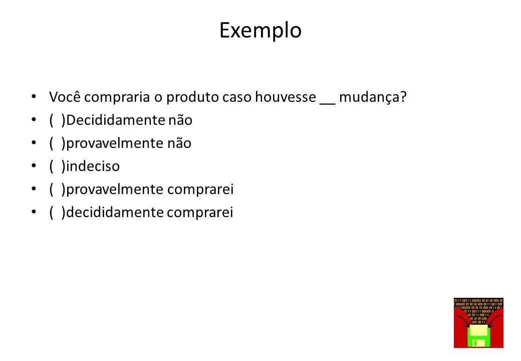 EXEMPLO • O produto tem um desempenho perfeito. Sobre a afirmação diga ( ) concordo ( ) discordo ( ) concordo parcialmente ( )discordo parcialmente