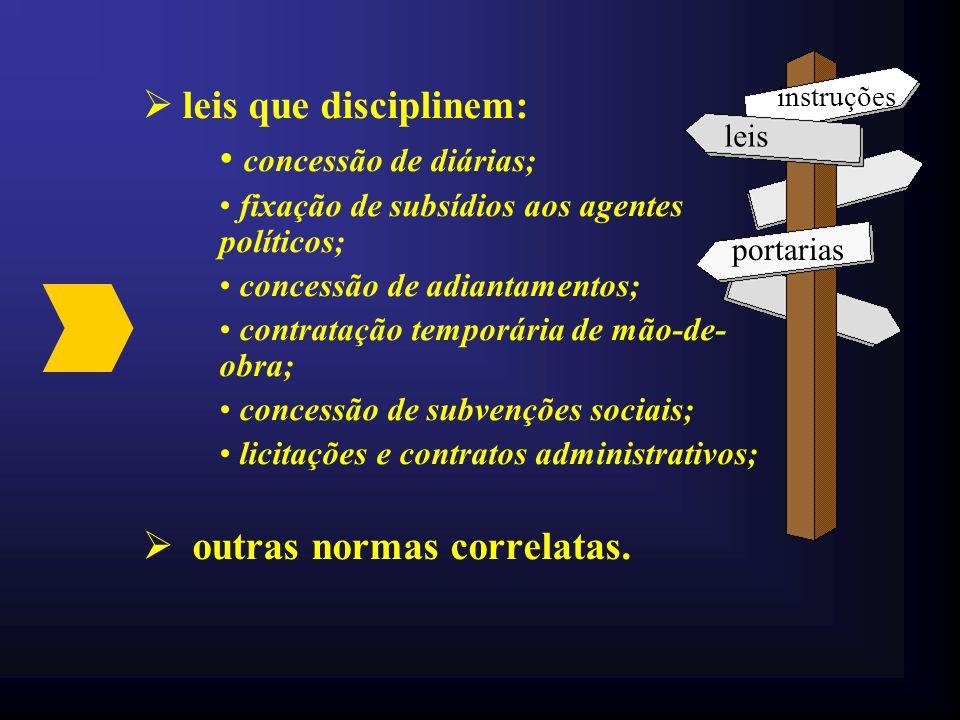  Lei Orgânica do município;  Leis Complementares à Lei Orgânica;  Regimentos Internos das entidades da administração municipal;  Lei de Organizaçã