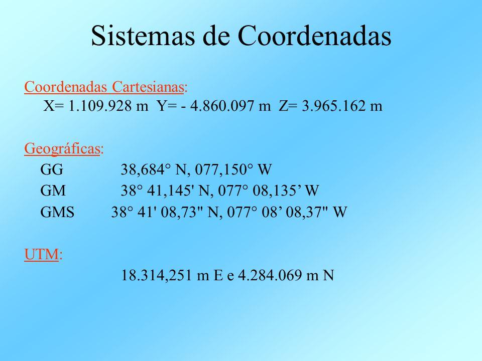 Sistemas de Coordenadas Coordenadas Cartesianas: X= 1.109.928 m Y= - 4.860.097 m Z= 3.965.162 m Geográficas: GG 38,684° N, 077,150° W GM 38° 41,145' N