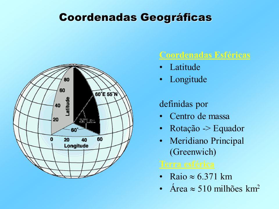 Coordenadas Esféricas •Latitude •Longitude definidas por •Centro de massa •Rotação -> Equador •Meridiano Principal (Greenwich) Terra esférica •Raio 