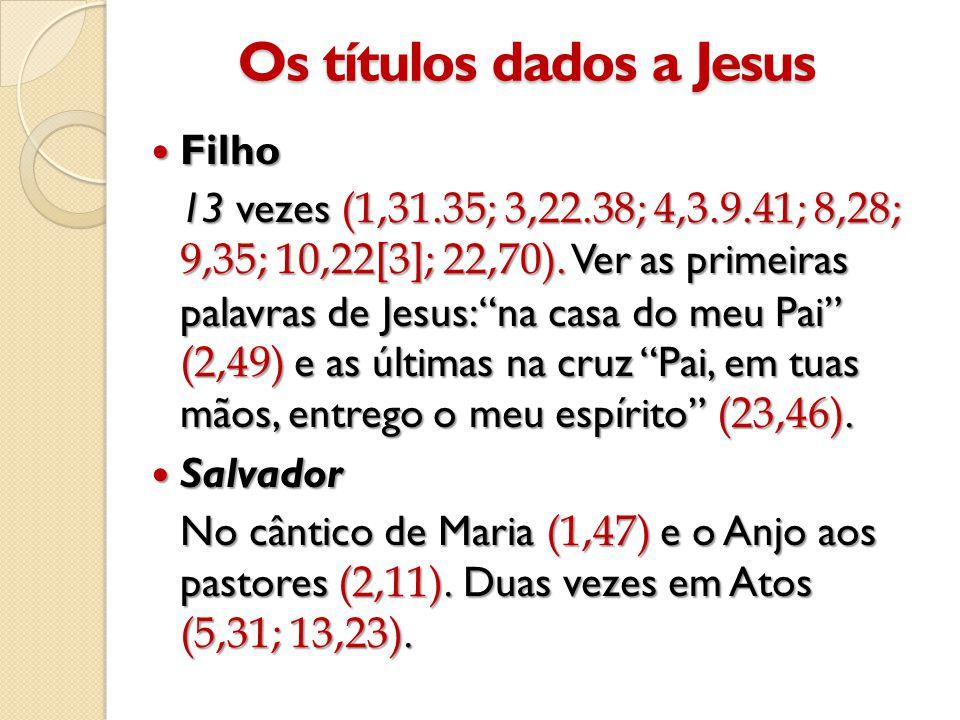 Os títulos dados a Jesus  Filho 13 vezes (1,31.35; 3,22.38; 4,3.9.41; 8,28; 9,35; 10,22[3]; 22,70).