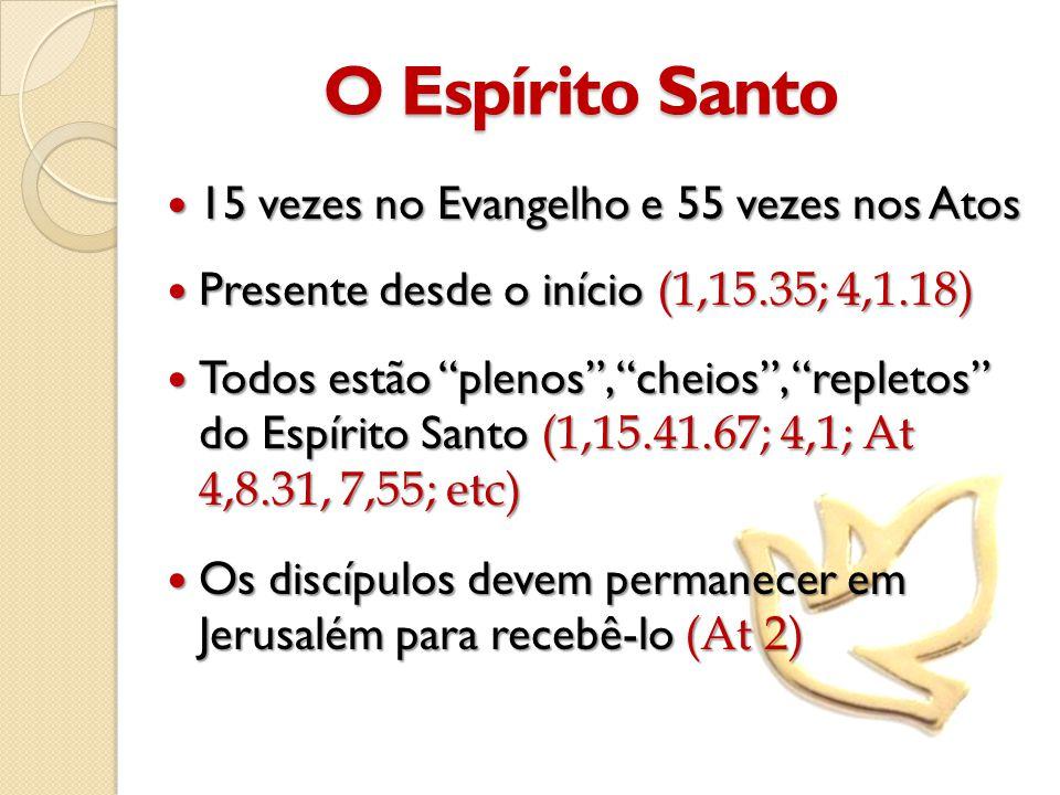 O Espírito Santo  15 vezes no Evangelho e 55 vezes nos Atos  Presente desde o início (1,15.35; 4,1.18)  Todos estão plenos , cheios , repletos do Espírito Santo (1,15.41.67; 4,1; At 4,8.31, 7,55; etc)  Os discípulos devem permanecer em Jerusalém para recebê-lo (At 2)