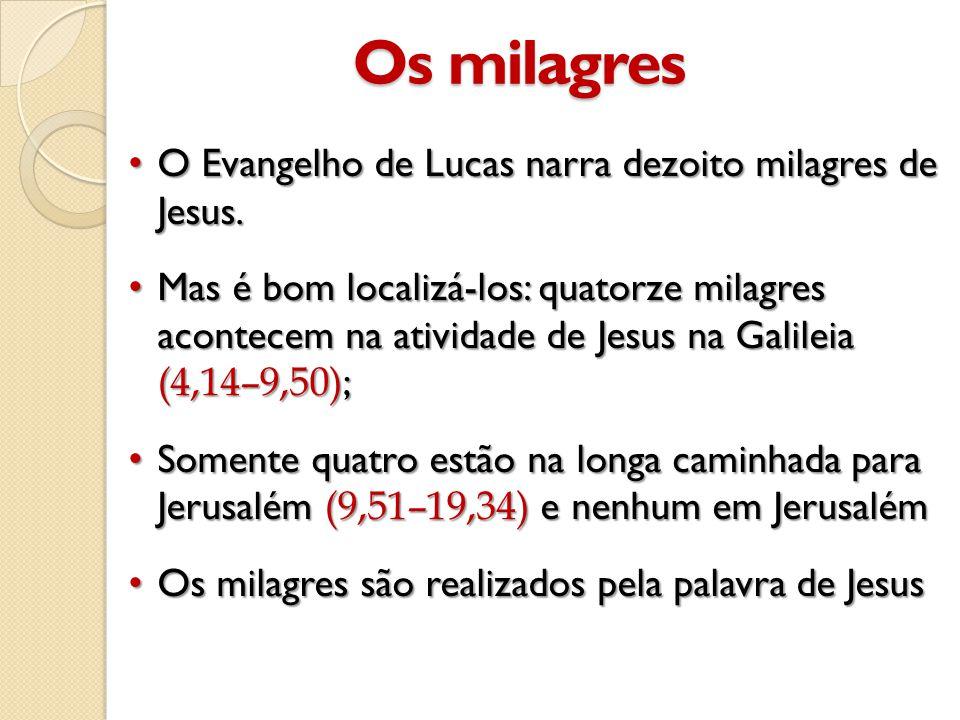 Os milagres • O Evangelho de Lucas narra dezoito milagres de Jesus.