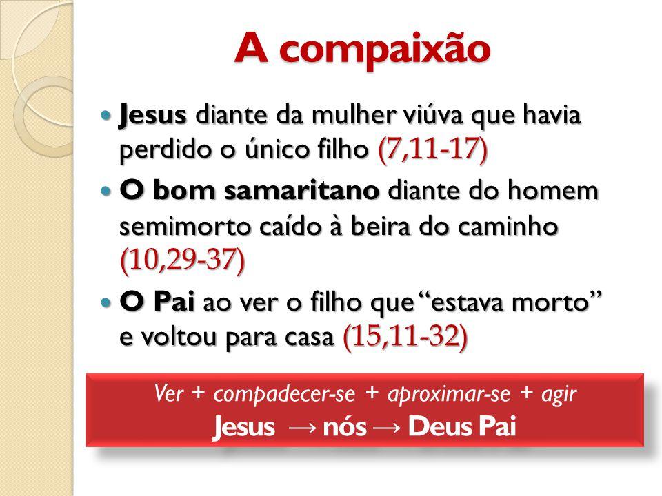 A compaixão  Jesus diante da mulher viúva que havia perdido o único filho (7,11-17)  O bom samaritano diante do homem semimorto caído à beira do caminho (10,29-37)  O Pai ao ver o filho que estava morto e voltou para casa (15,11-32) Ver + compadecer-se + aproximar-se + agir Jesus → nós → Deus Pai Ver + compadecer-se + aproximar-se + agir Jesus → nós → Deus Pai