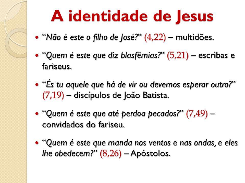 A identidade de Jesus  Não é este o filho de José? (4,22) – multidões.