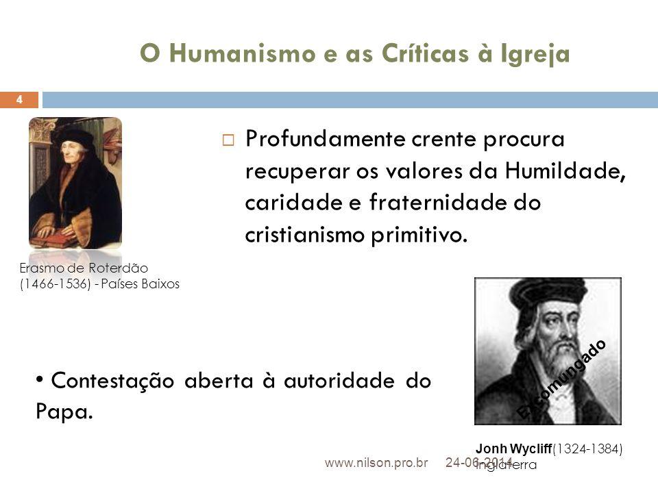 O Humanismo e as Críticas à Igreja  Profundamente crente procura recuperar os valores da Humildade, caridade e fraternidade do cristianismo primitivo