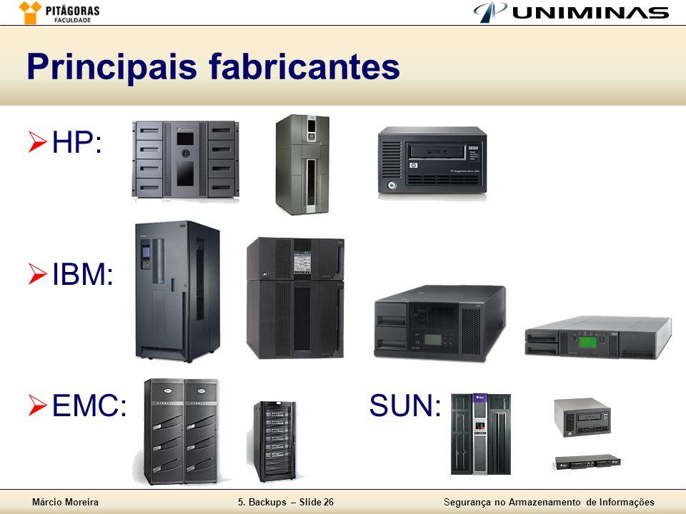 Márcio Moreira5. Backups – Slide 26Segurança no Armazenamento de Informações Principais fabricantes  HP:  IBM:  EMC:SUN: