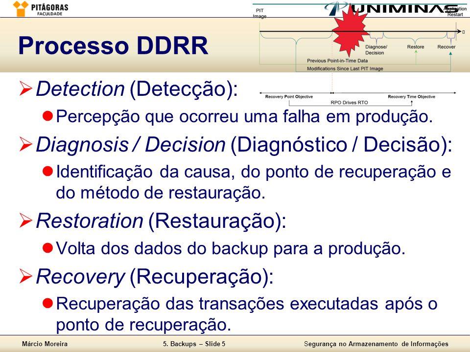 Márcio Moreira5. Backups – Slide 5Segurança no Armazenamento de Informações Processo DDRR  Detection (Detecção):  Percepção que ocorreu uma falha em
