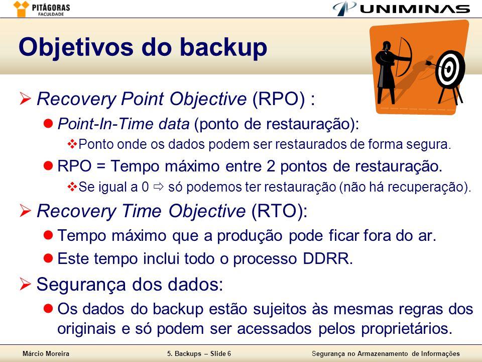 Márcio Moreira5. Backups – Slide 6Segurança no Armazenamento de Informações Objetivos do backup  Recovery Point Objective (RPO) :  Point-In-Time dat
