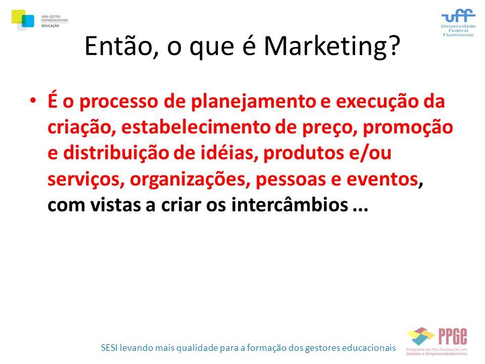 SESI levando mais qualidade para a formação dos gestores educacionais Então, o que é Marketing? • É o processo de planejamento e execução da criação,