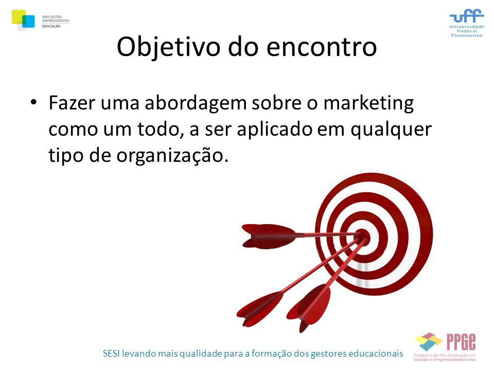 SESI levando mais qualidade para a formação dos gestores educacionais Objetivo do encontro • Fazer uma abordagem sobre o marketing como um todo, a ser