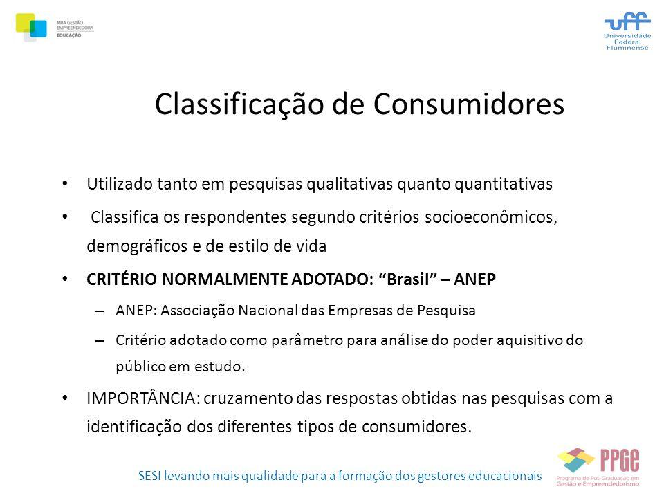 SESI levando mais qualidade para a formação dos gestores educacionais Classificação de Consumidores • Utilizado tanto em pesquisas qualitativas quanto