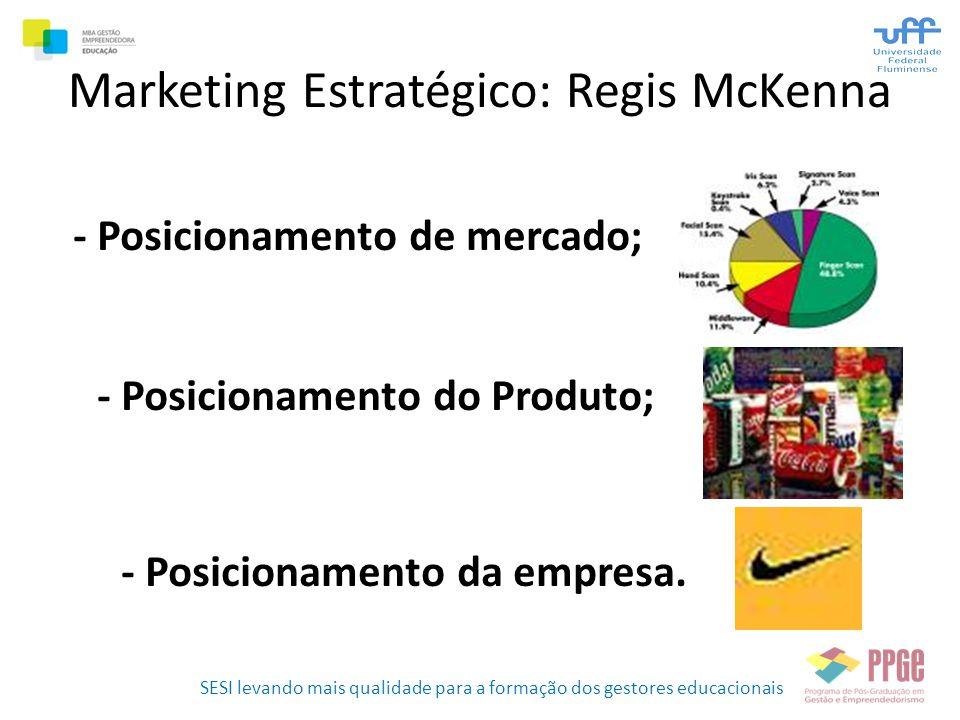 SESI levando mais qualidade para a formação dos gestores educacionais Marketing Estratégico: Regis McKenna - Posicionamento de mercado; - Posicionamen