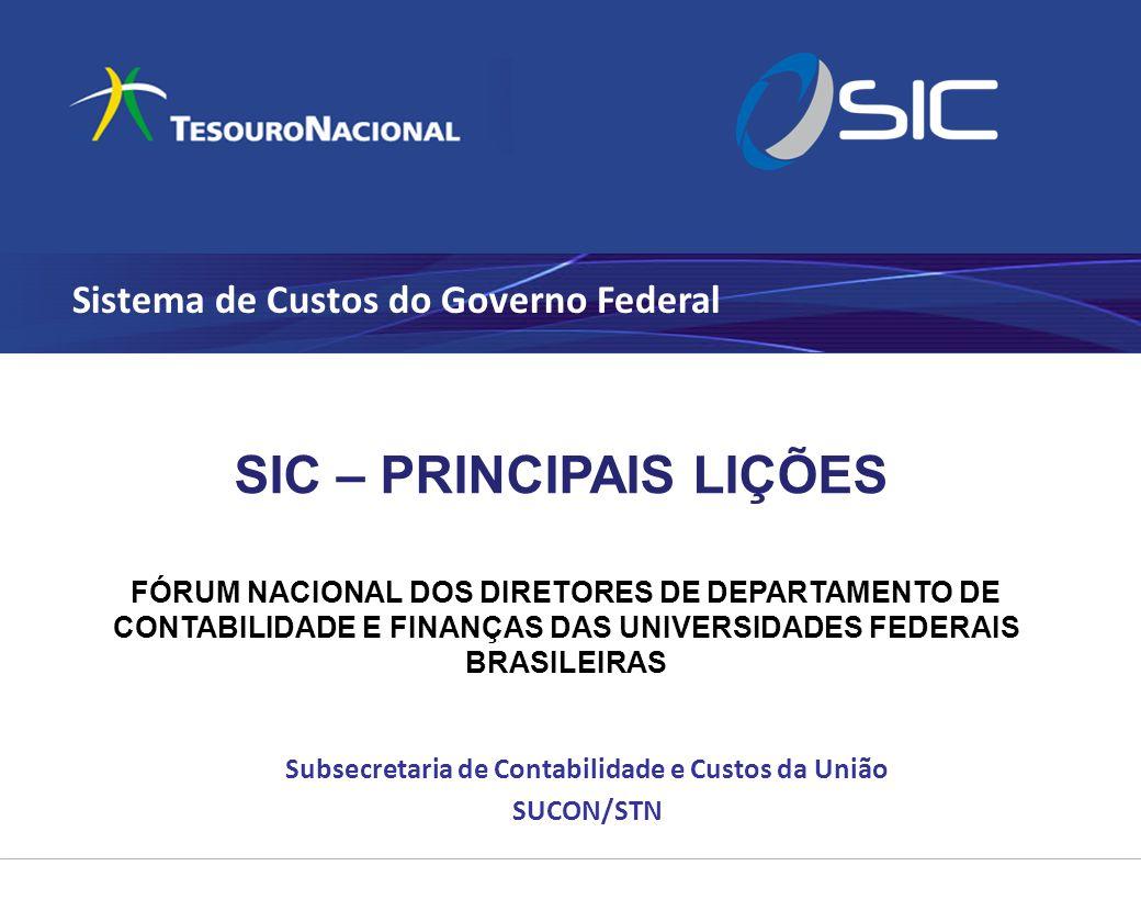 Sistema de Custos do Governo Federal Subsecretaria de Contabilidade e Custos da União SUCON/STN SIC – PRINCIPAIS LIÇÕES FÓRUM NACIONAL DOS DIRETORES D