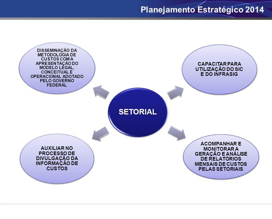 CONSOLIDAR O SISTEMA DE CUSTOS NAS SETORIAIS INSTRUMENTAL GERAÇÃO E ANÁLISE BASE METODOLOGIA PUBLICIZAÇÃO Planejamento Estratégico 2014 SETORIAL DISSE