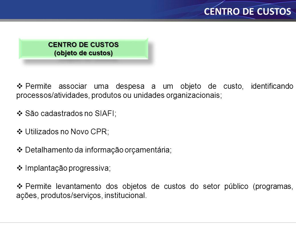 CENTRO DE CUSTOS (objeto de custos) CENTRO DE CUSTOS (objeto de custos) CENTRO DE CUSTOS  Permite associar uma despesa a um objeto de custo, identifi