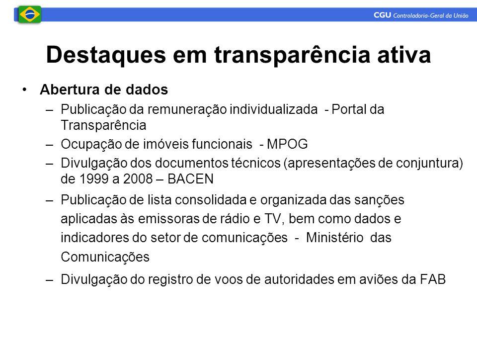 Destaques em transparência ativa •Abertura de dados –Publicação da remuneração individualizada - Portal da Transparência –Ocupação de imóveis funciona
