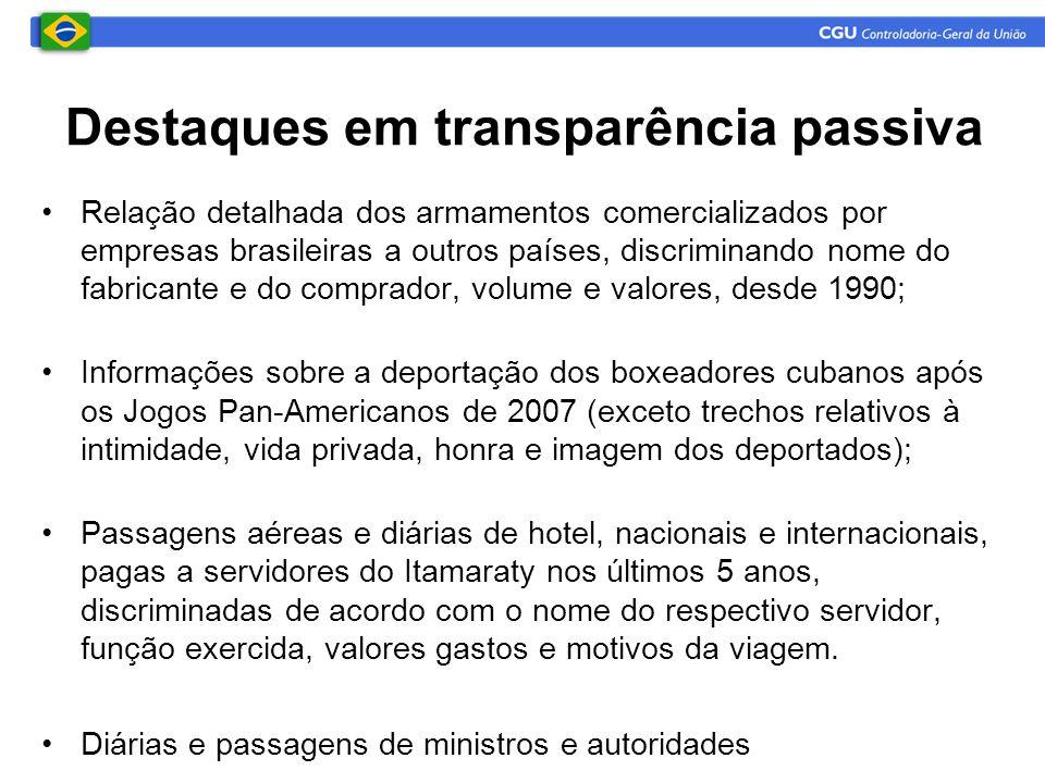 •Relação detalhada dos armamentos comercializados por empresas brasileiras a outros países, discriminando nome do fabricante e do comprador, volume e