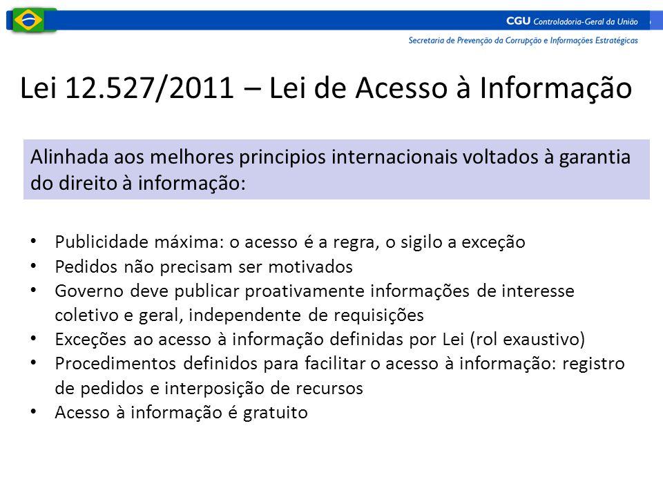 Lei 12.527/2011 – Lei de Acesso à Informação Alinhada aos melhores principios internacionais voltados à garantia do direito à informação: • Publicidad