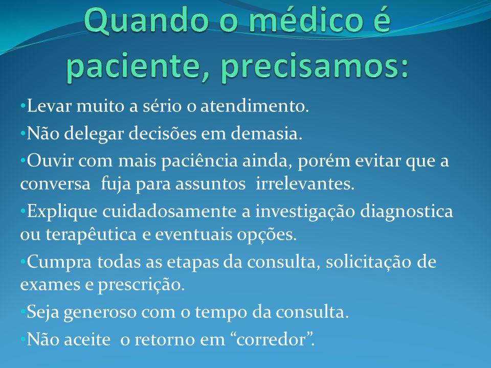 Ter médicos como pacientes é um relativo fardo, porém, desde os tempos de Hipocrates, para o profissional médico é um dos maiores e verdadeiros testemunhos de real competência.