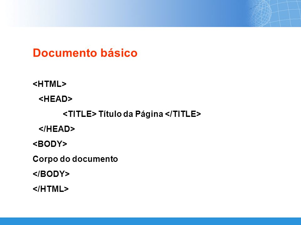 Documento básico Título da Página Corpo do documento