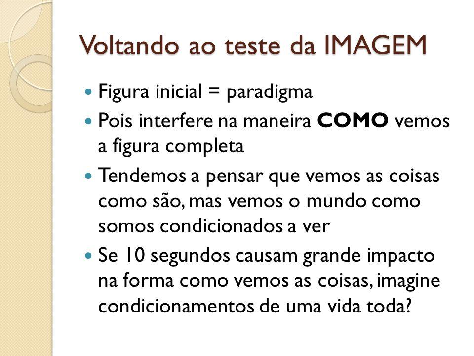 Voltando ao teste da IMAGEM  Figura inicial = paradigma  Pois interfere na maneira COMO vemos a figura completa  Tendemos a pensar que vemos as coi