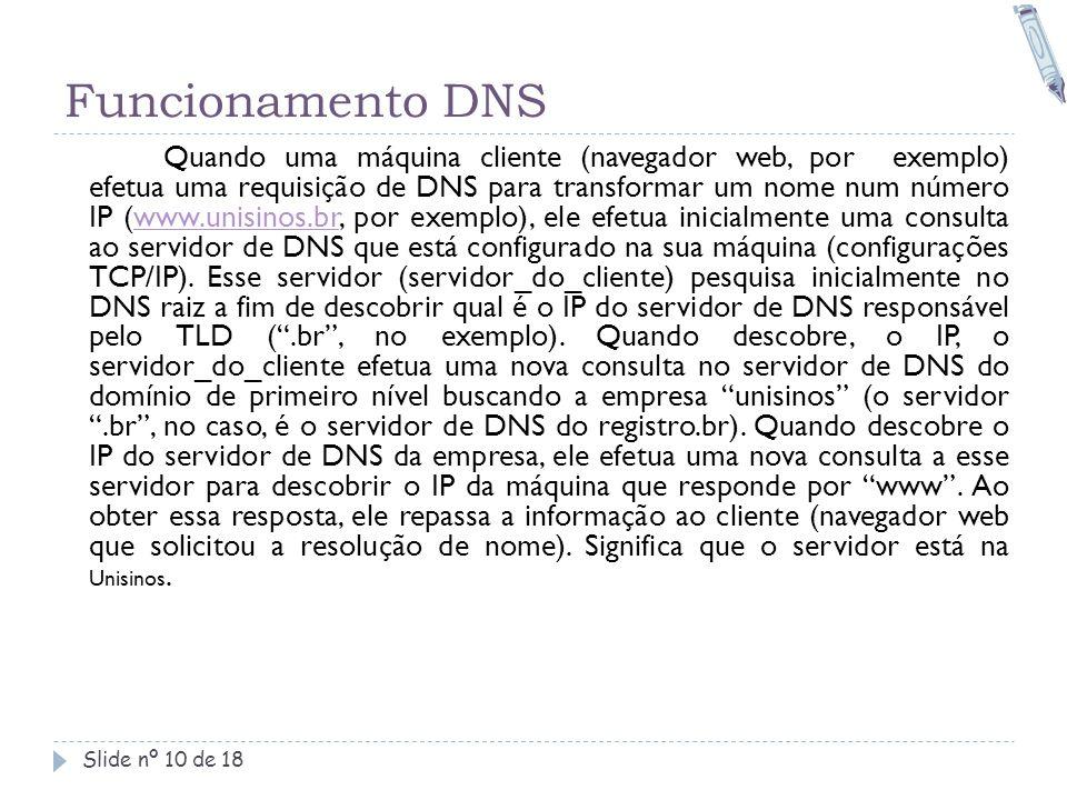 Funcionamento DNS Slide nº 10 de 18 Quando uma máquina cliente (navegador web, por exemplo) efetua uma requisição de DNS para transformar um nome num