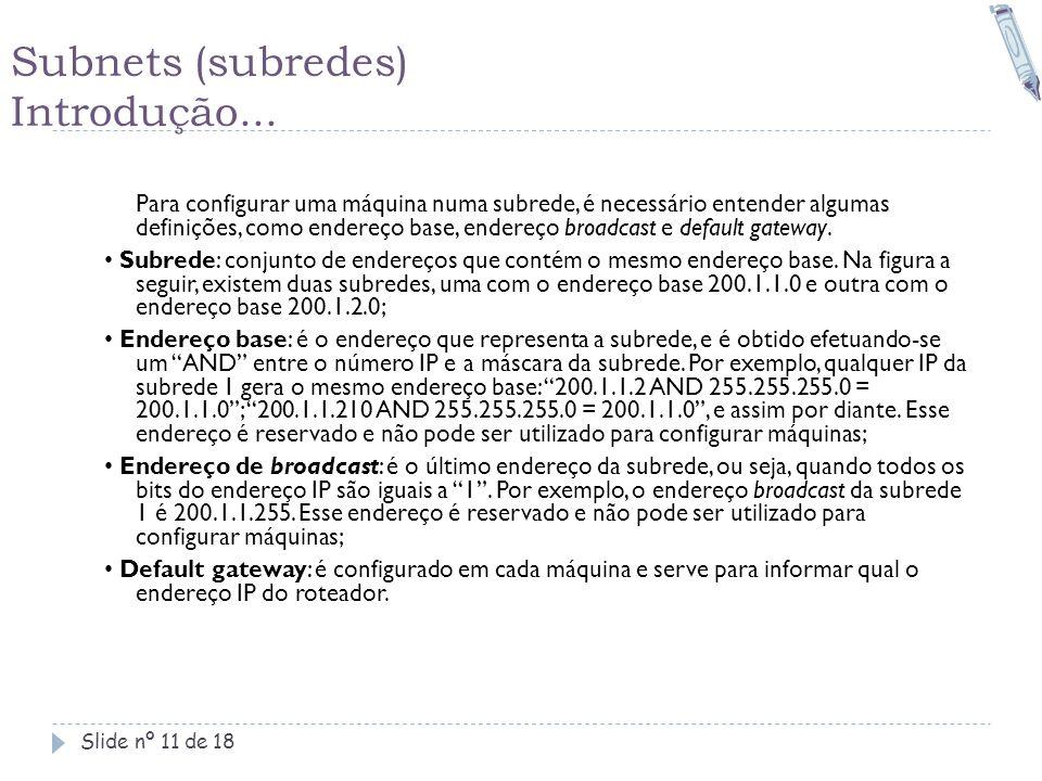 Subnets (subredes) Introdução... Slide nº 11 de 18 Para configurar uma máquina numa subrede, é necessário entender algumas definições, como endereço b
