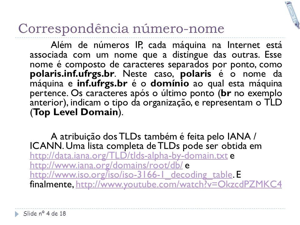 Correspondência número-nome Slide nº 4 de 18 Além de números IP, cada máquina na Internet está associada com um nome que a distingue das outras. Esse