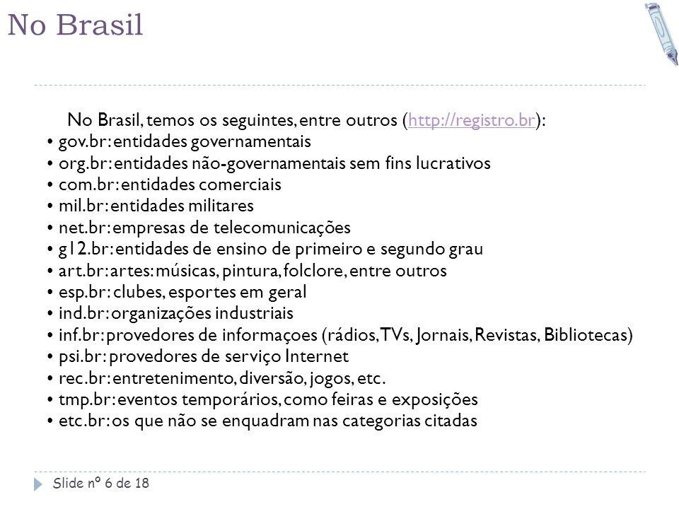 No Brasil Slide nº 6 de 18 No Brasil, temos os seguintes, entre outros (http://registro.br):http://registro.br • gov.br: entidades governamentais • or
