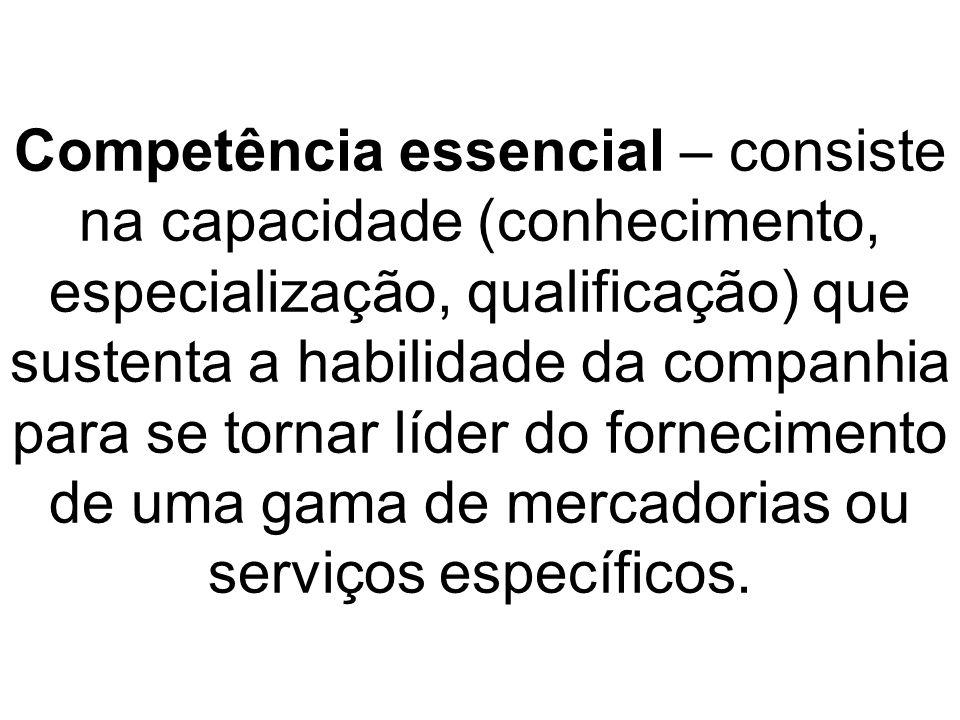 Competência essencial – consiste na capacidade (conhecimento, especialização, qualificação) que sustenta a habilidade da companhia para se tornar líde