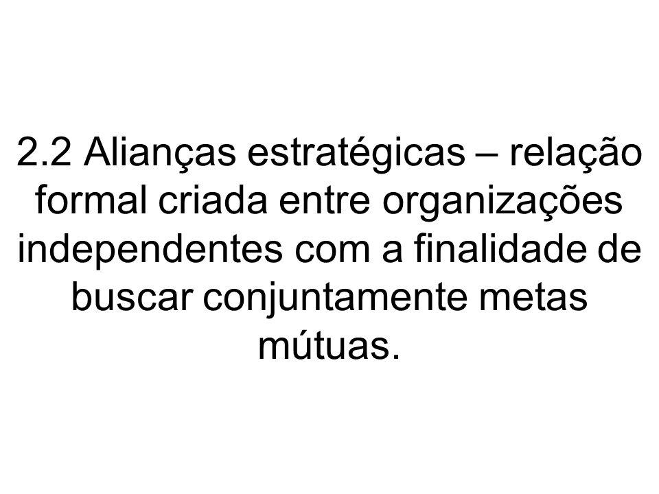2.2 Alianças estratégicas – relação formal criada entre organizações independentes com a finalidade de buscar conjuntamente metas mútuas.