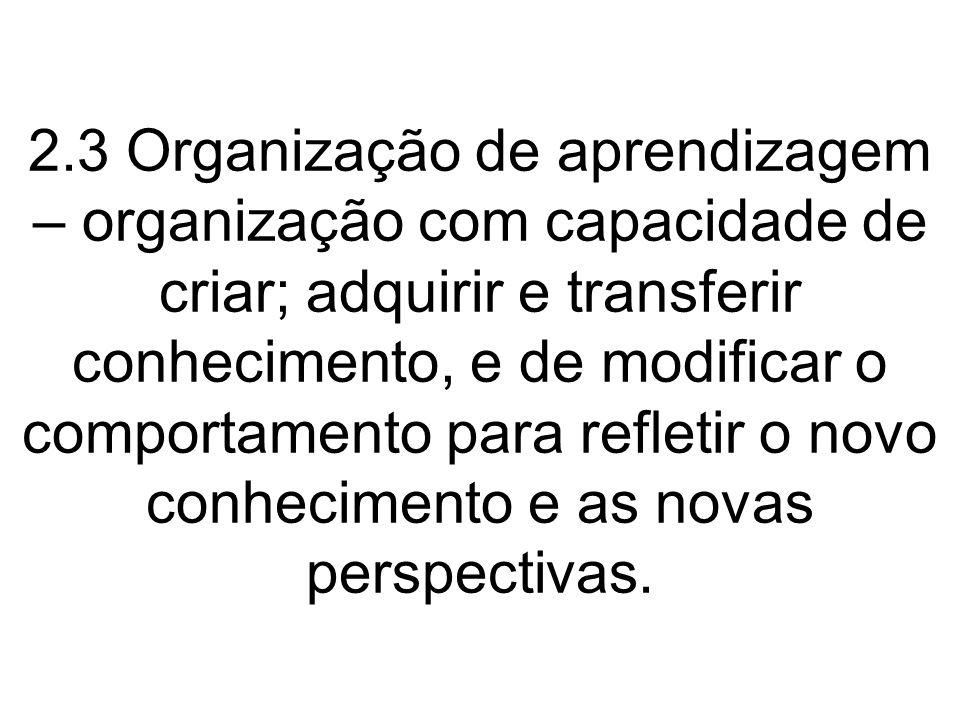 2.3 Organização de aprendizagem – organização com capacidade de criar; adquirir e transferir conhecimento, e de modificar o comportamento para refleti
