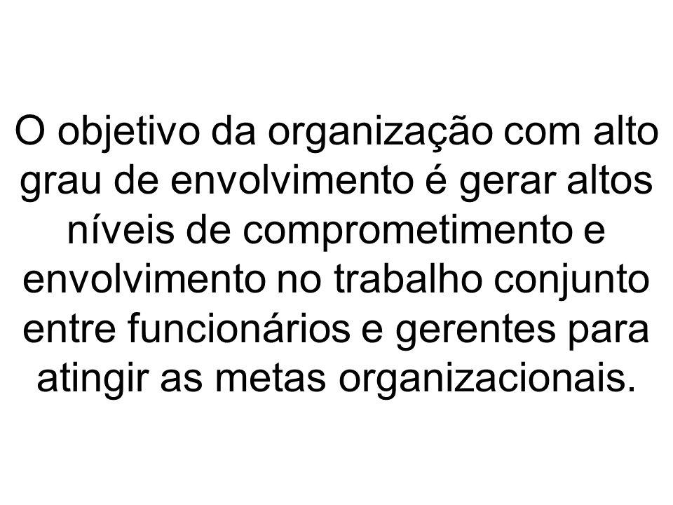 O objetivo da organização com alto grau de envolvimento é gerar altos níveis de comprometimento e envolvimento no trabalho conjunto entre funcionários