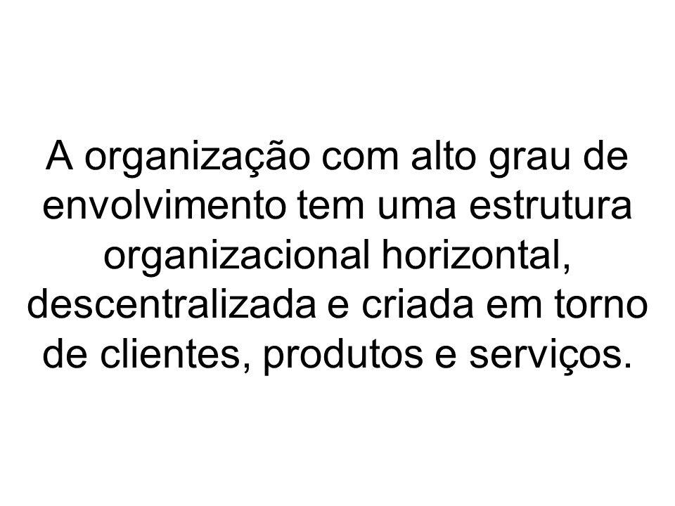 A organização com alto grau de envolvimento tem uma estrutura organizacional horizontal, descentralizada e criada em torno de clientes, produtos e ser