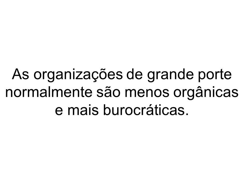 As organizações de grande porte normalmente são menos orgânicas e mais burocráticas.