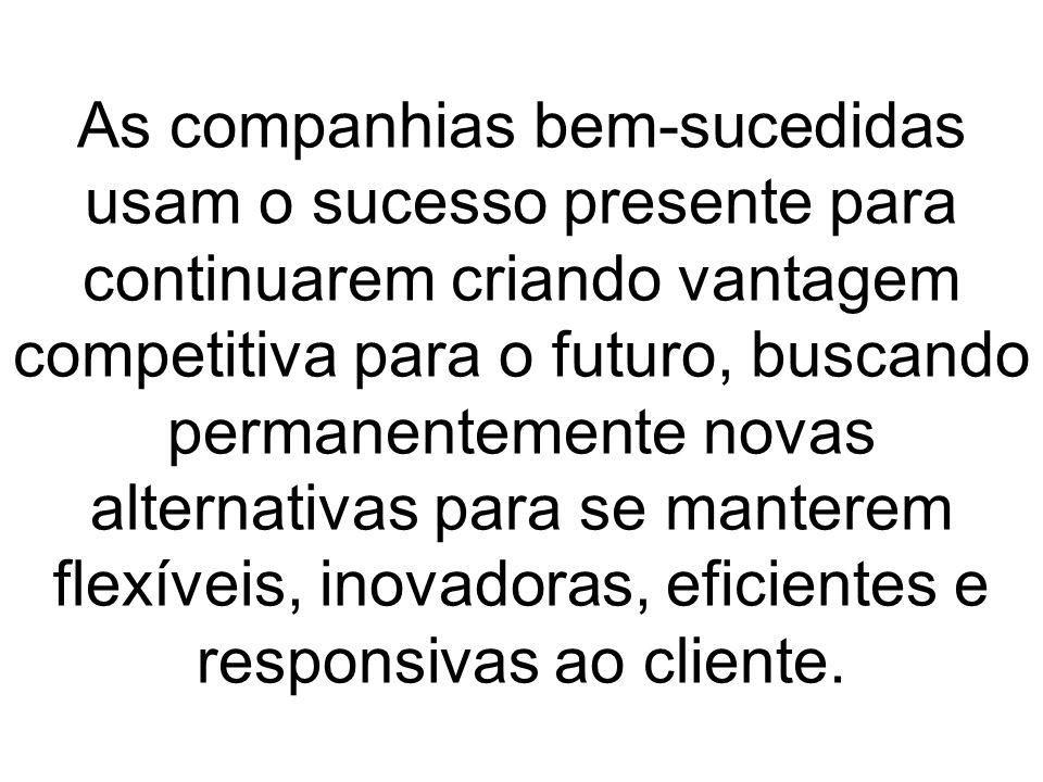 As companhias bem-sucedidas usam o sucesso presente para continuarem criando vantagem competitiva para o futuro, buscando permanentemente novas altern
