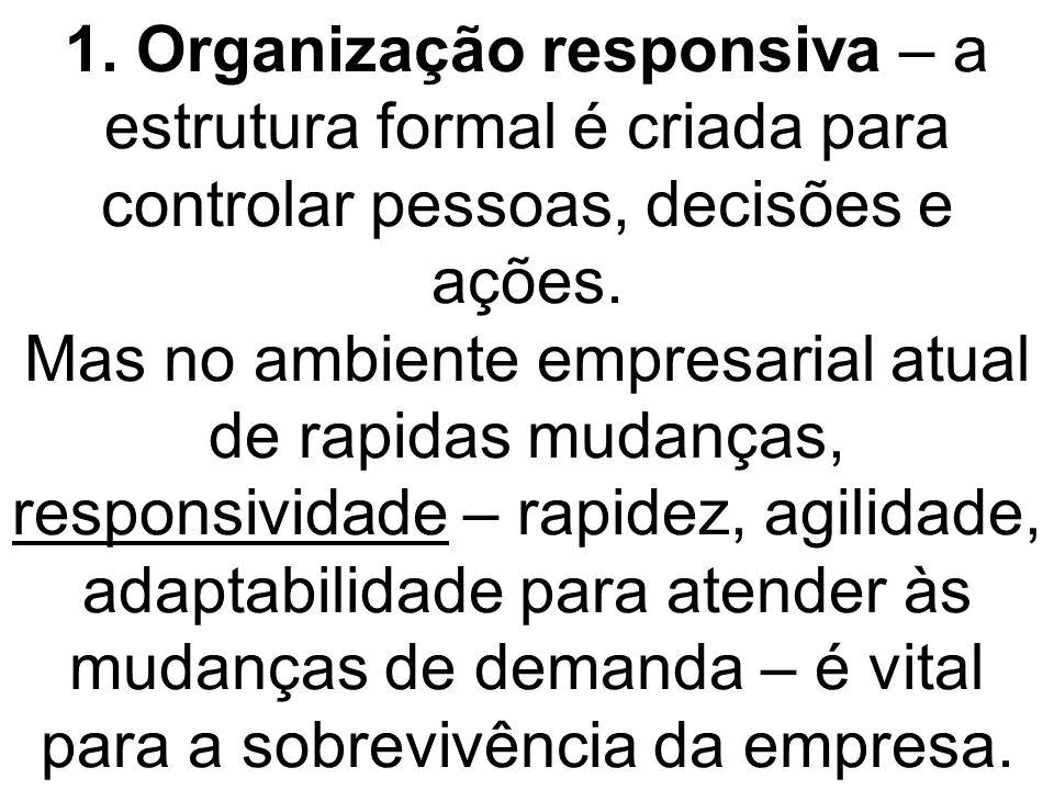 1. Organização responsiva – a estrutura formal é criada para controlar pessoas, decisões e ações. Mas no ambiente empresarial atual de rapidas mudança