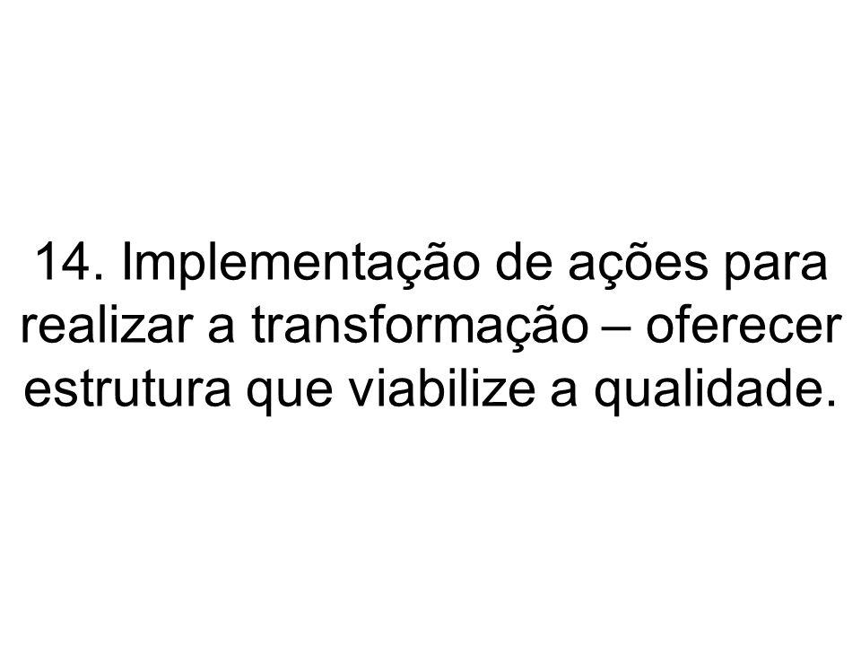 14. Implementação de ações para realizar a transformação – oferecer estrutura que viabilize a qualidade.