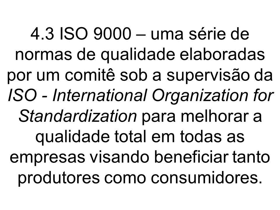 4.3 ISO 9000 – uma série de normas de qualidade elaboradas por um comitê sob a supervisão da ISO - International Organization for Standardization para