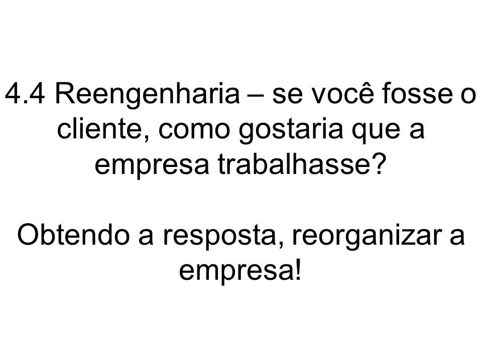 4.4 Reengenharia – se você fosse o cliente, como gostaria que a empresa trabalhasse? Obtendo a resposta, reorganizar a empresa!