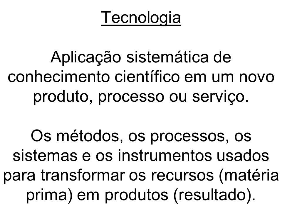 Tecnologia Aplicação sistemática de conhecimento científico em um novo produto, processo ou serviço. Os métodos, os processos, os sistemas e os instru