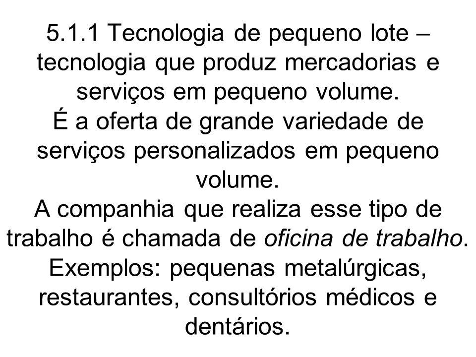 5.1.1 Tecnologia de pequeno lote – tecnologia que produz mercadorias e serviços em pequeno volume. É a oferta de grande variedade de serviços personal