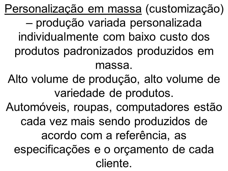 Personalização em massa (customização) – produção variada personalizada individualmente com baixo custo dos produtos padronizados produzidos em massa.