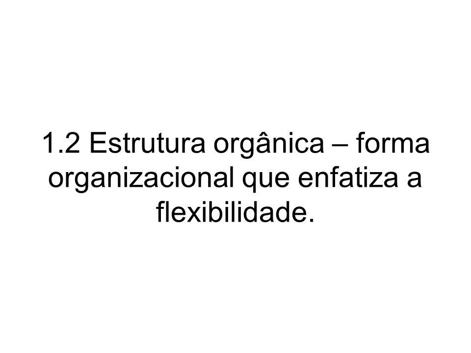 1.2 Estrutura orgânica – forma organizacional que enfatiza a flexibilidade.