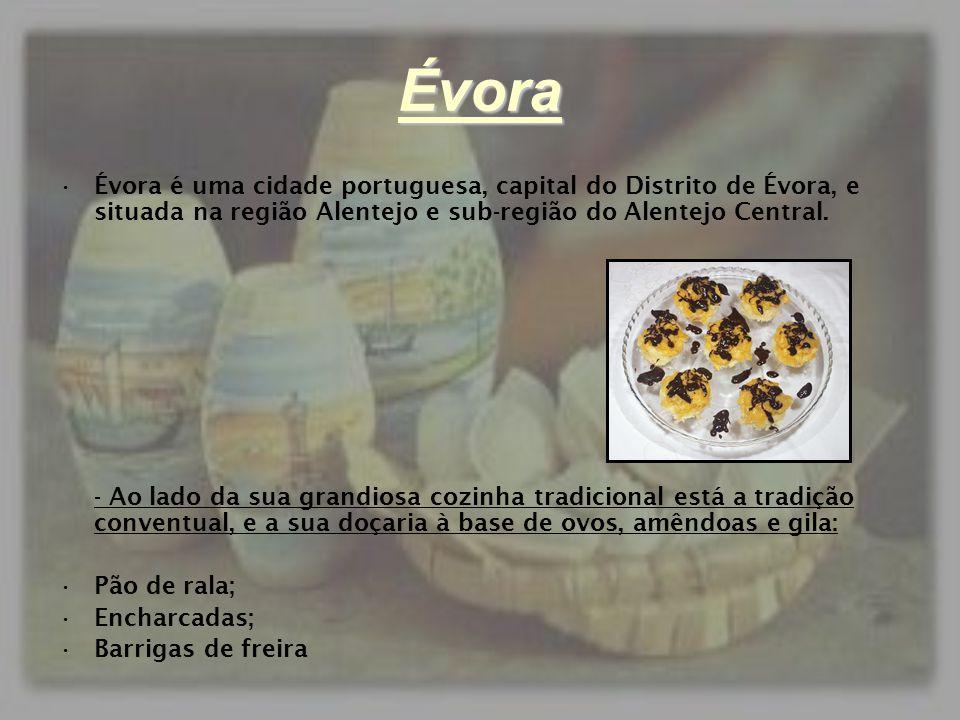 Évora •Évora é uma cidade portuguesa, capital do Distrito de Évora, e situada na região Alentejo e sub-região do Alentejo Central. - Ao lado da sua gr