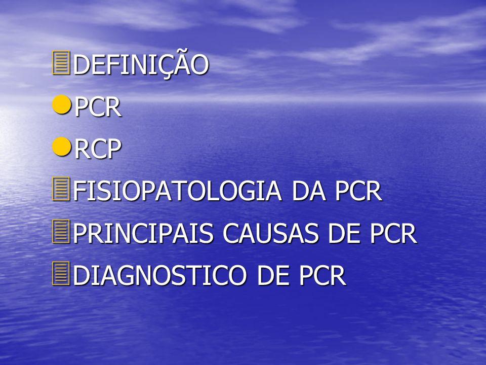 3 DEFINIÇÃO l PCR l RCP 3 FISIOPATOLOGIA DA PCR 3 PRINCIPAIS CAUSAS DE PCR 3 DIAGNOSTICO DE PCR