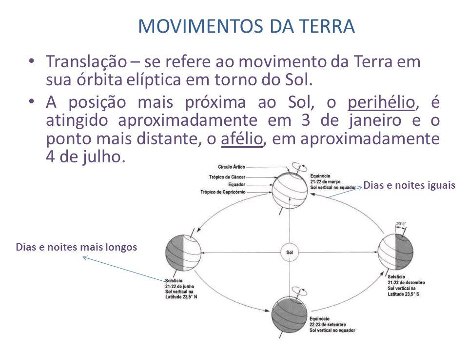 MOVIMENTOS DA TERRA • Translação – se refere ao movimento da Terra em sua órbita elíptica em torno do Sol. • A posição mais próxima ao Sol, o perihéli
